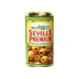 Zelené olivy bez pecky Seville premium - plech 350g/150g